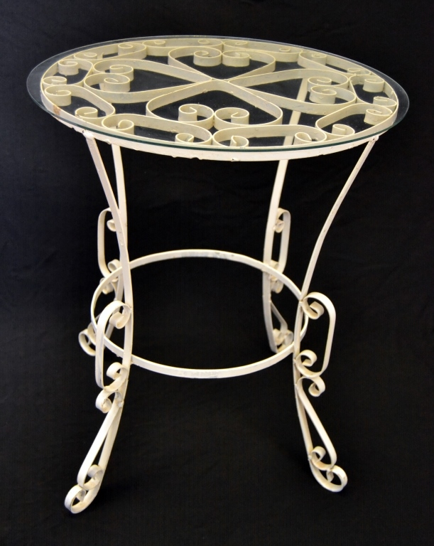 Vintage Round Scrolling Metal Table
