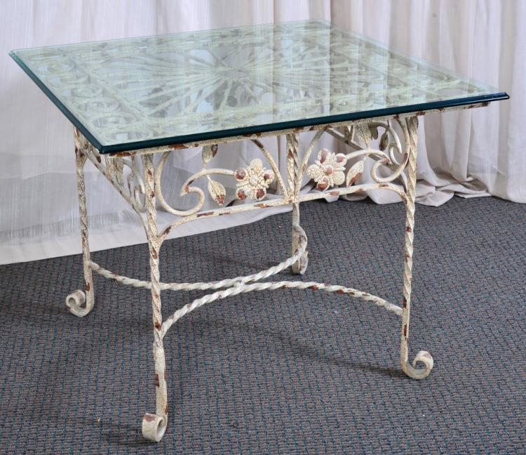 Square Scrolling Metal Side Table w/Glass Top