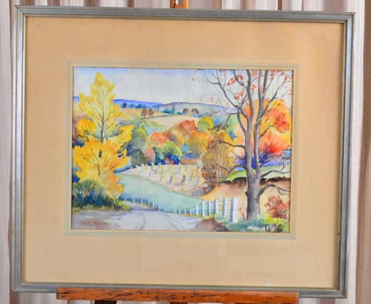 Fall Farmland Landscape Watercolor