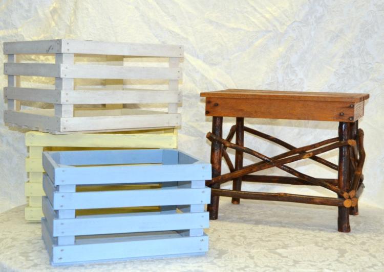Slat & Stick Stool & 3 Slat Box Planters