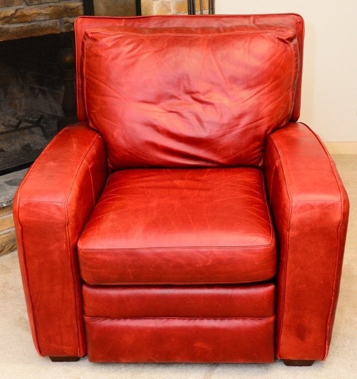 Norwalk Leather Sofa: Norwalk Red Leather Club Chair Recliner