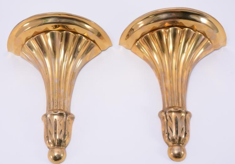 Pair handcrafted heavy brass sconces for Decorative crafts inc brass