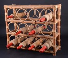 Rattan Wine Rack & 9 Rolling Pins