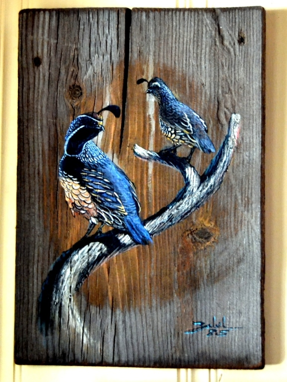 Original Larry Zabel Quail Plank Art