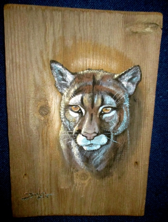 Original Larry Zabel Bobcat Plank Art