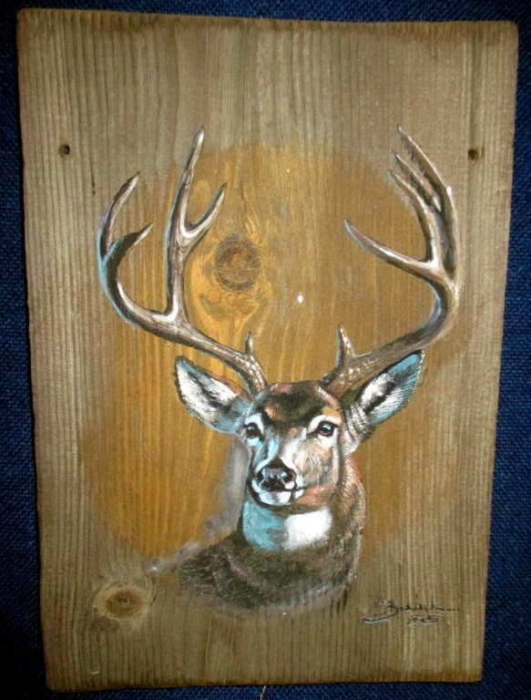 Original Larry Zabel Stag Plank Art