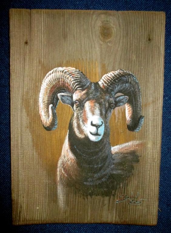 Original Larry Zabel Big Horn Sheep Plank Art
