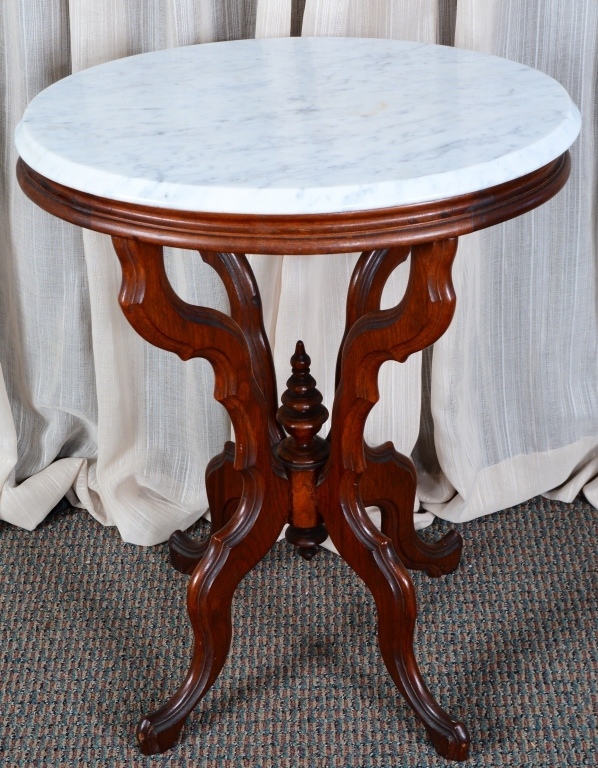 oval white marble top victorian side table. Black Bedroom Furniture Sets. Home Design Ideas