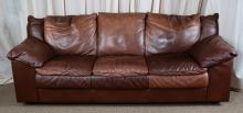 Brown Leather Pillow Back Sofa