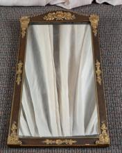 Vintage Wood Mirror w/Applied Gold Decoration