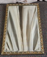 Beveled Mirror in Gold Scrolling Leaf Frame