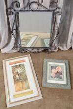 Wrought Iron Mirror & 2 Framed Floral Prints