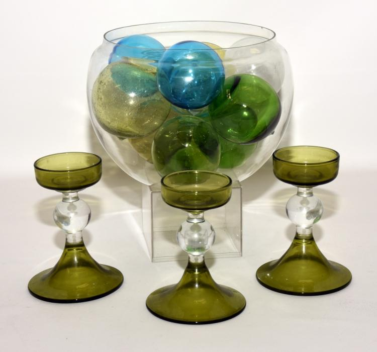 Large round glass bowl w balls candleholders