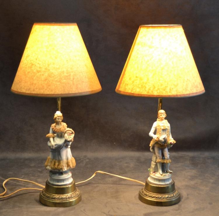 Vanity Lamps Vintage : Pair Vintage Ceramic Figural Vanity Lamps