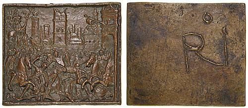 Andrea Briosco, called Riccio (c.1470-1532) Battle before a City Gate, rectangular bronze plaquette, 88.5mm. x 102.5mm. light red - ...