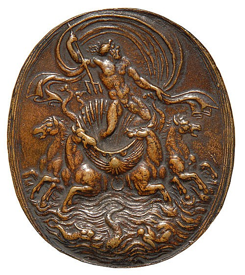 Giovanni Bernardi de Castelbolognese (1496-1553) Neptune, oval bronze plaquette, 76mm. x 66.5mm., a good old cast, light...