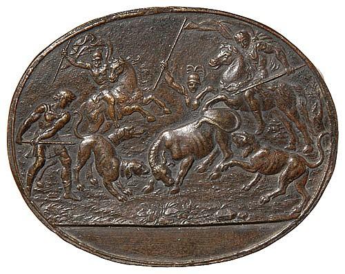 Giovanni Bernardi de Castelbolognese (1496-1553) A Bull Hunt, oval bronze plaquette, 68.5mm. x 87mm., brown patina  A bull, standing...