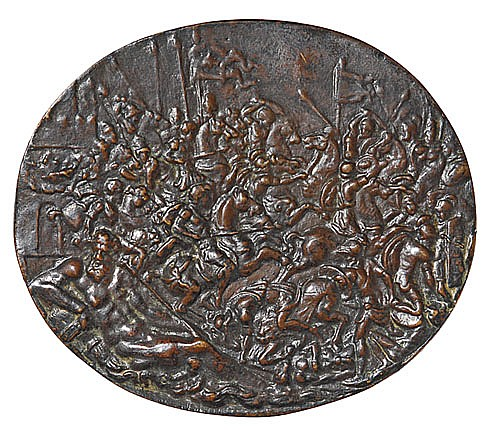 Giovanni Bernardi de Castelbolonese (1496-1553) Battle before a City Gate, oval bronze plaquette, 55mm. x 64mm., brown patina  A gro...