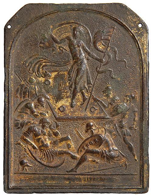 Giovanni Bernardi de Castelbolognese (1496-1553) The Resurrection, rectangular bronze-gilt plaquette, 107mm.x 82mm., grey-brown pati...