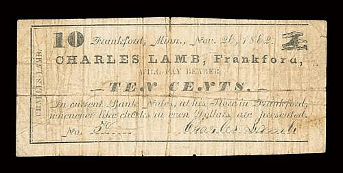 MN. Frankford. Charles Lamb. 10¢. Nov. 26, 1862. (Hewitt D360 F10). Simple frame border. Eagle upper right....