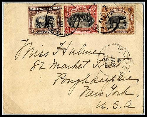 North Borneo Covers and Cancellations 10c. Foreign letter rate (21 September 1906) 1910 (Jan.) envelope to New York, bearing 1909 Pi...
