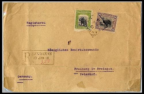 North Borneo Covers and Cancellations 10c. Foreign letter rate plus 10c. registration fee (21 September 1906) 1914 (10 Jan.) double...
