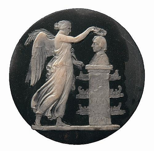 Wax study on slate of Victory crowning a monument to Nelson, by William Wyon, c.1830-40, winged Victory, loosly draped, standi...
