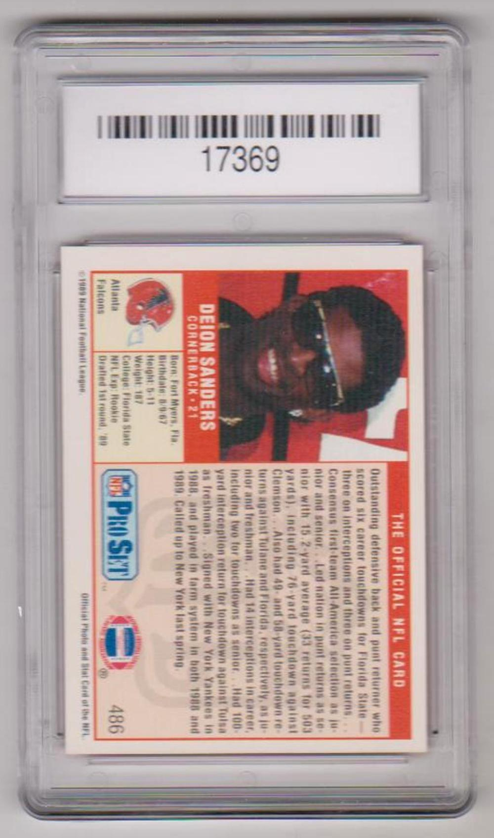 Rookie Graded Gem Mint 10 Deion Sanders 1989 Pro Set 486 Ca