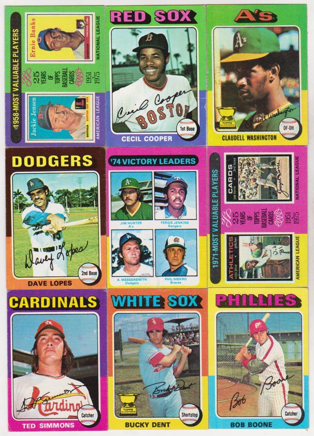9 Different 1975 Topps Baseball Semi To Star Cards Ernie Ba