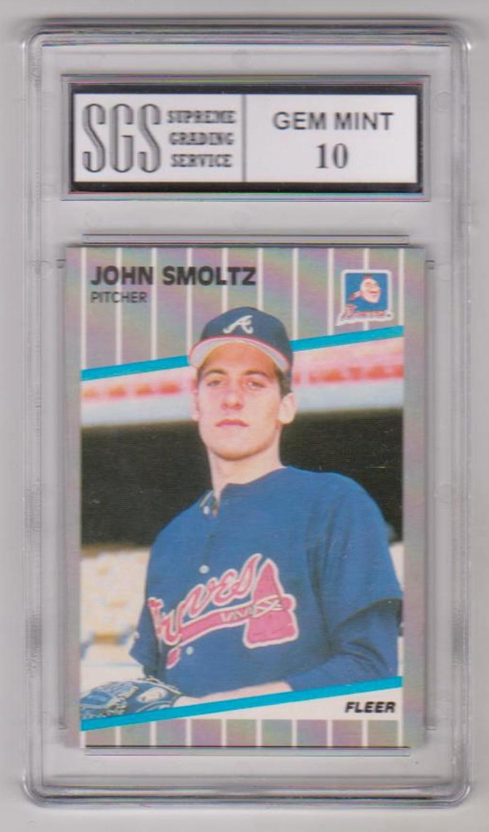 Graded Gem Mint 10 John Smoltz 1989 Fleer 602 Rookie Card
