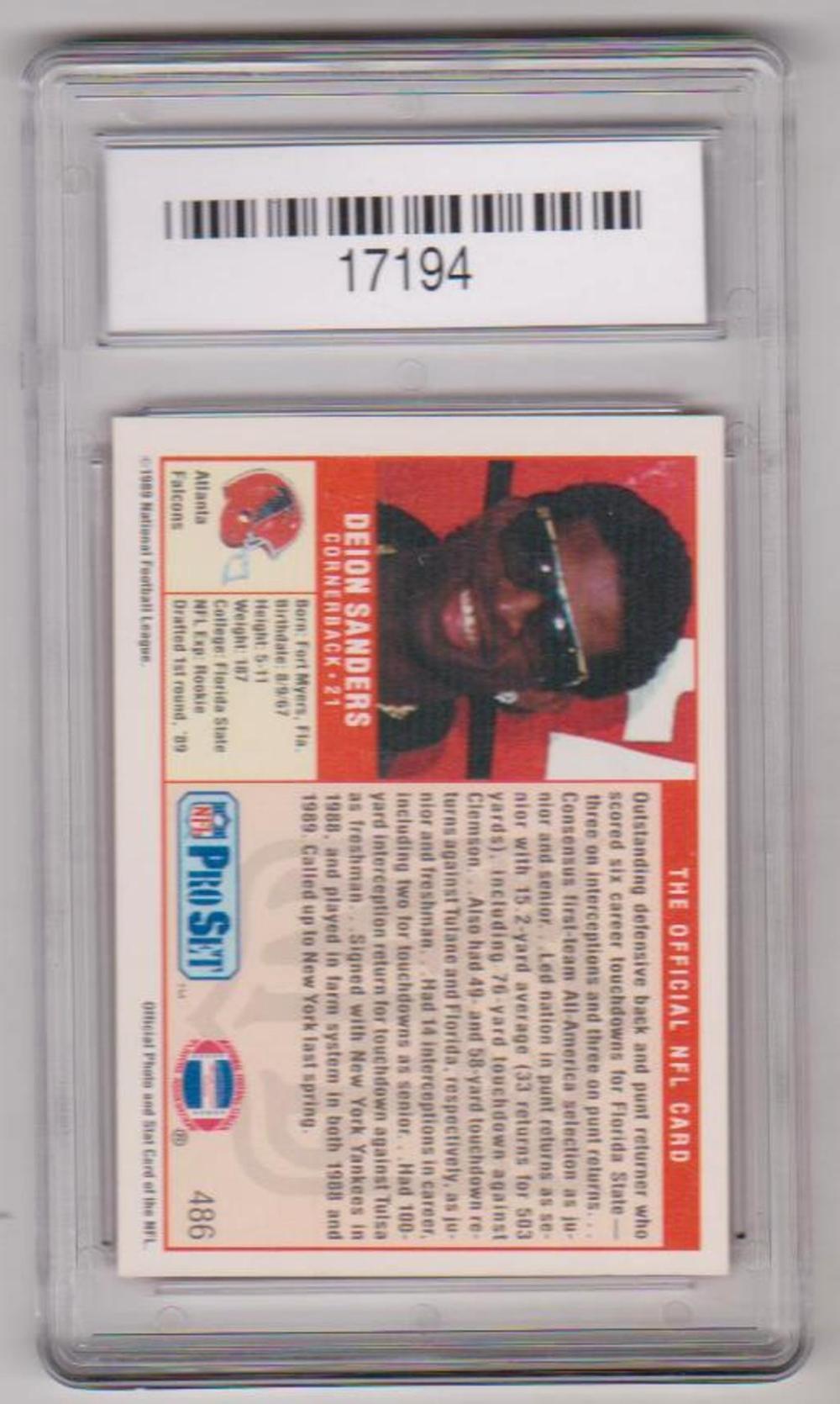 Deion Sanders Rookie Graded Gem Mint 10 1989 Pro Set 486