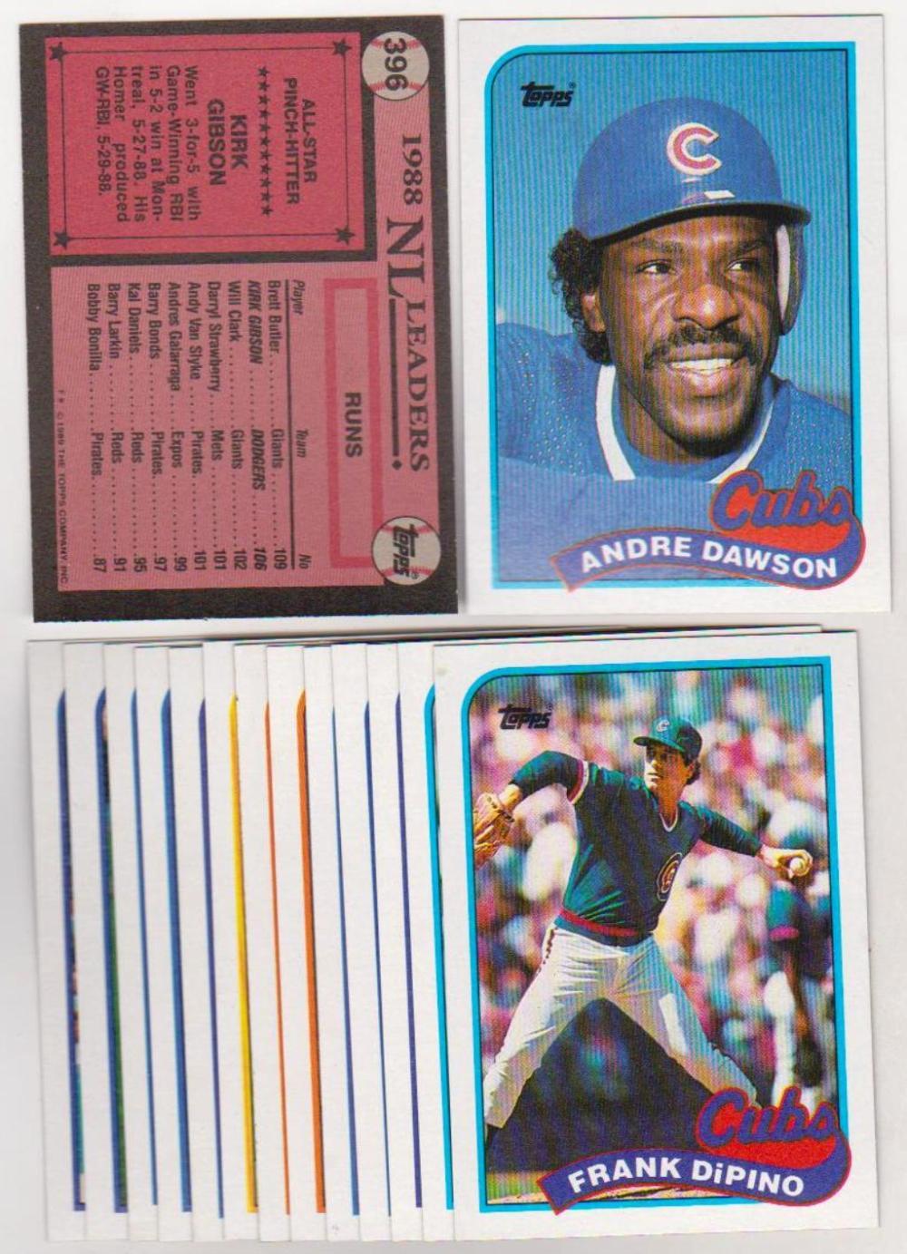 Error Lot 15 Different 1989 Topps Baseball Wrong Back Card