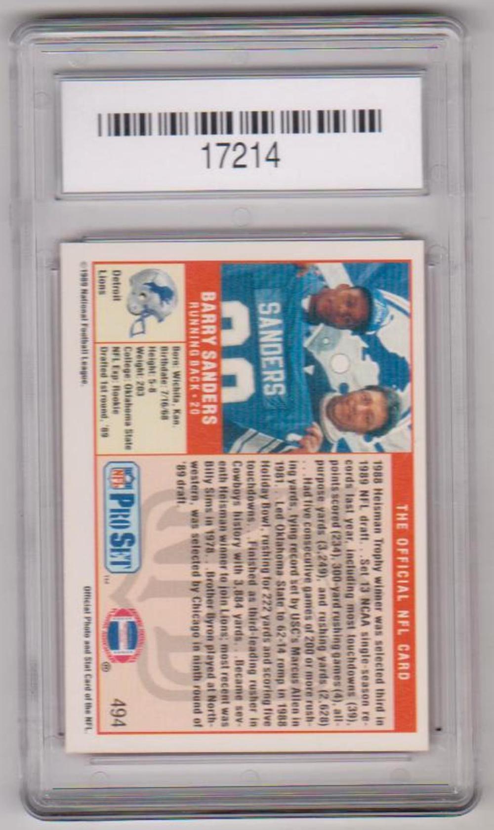 Rookie Graded Gem Mint 10 Barry Sanders 1989 Pro Set 494