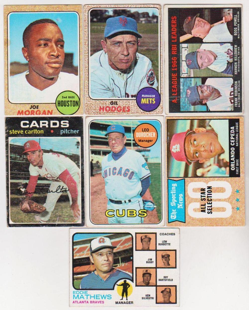 7 Different Vintage Star Baseball Cards 1967 73 Gil Hodg