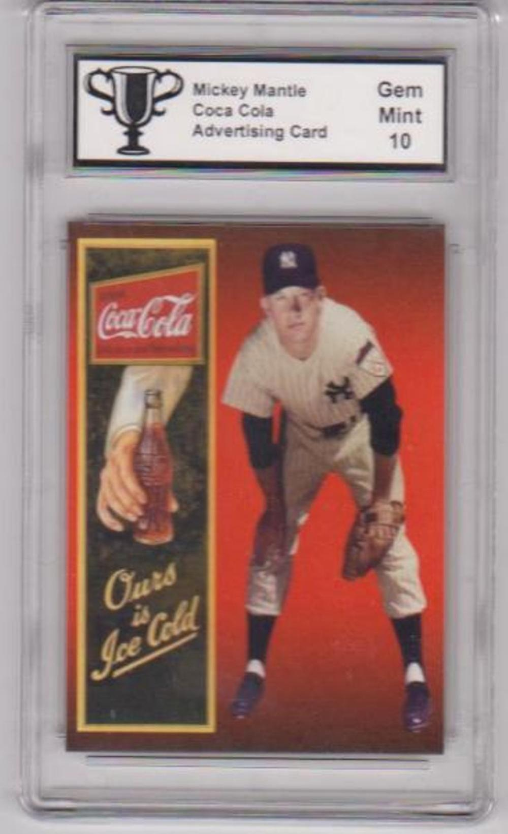 Graded Gem Mint 10 Mickey Mantle Coca-Cola Advertising Promo Card