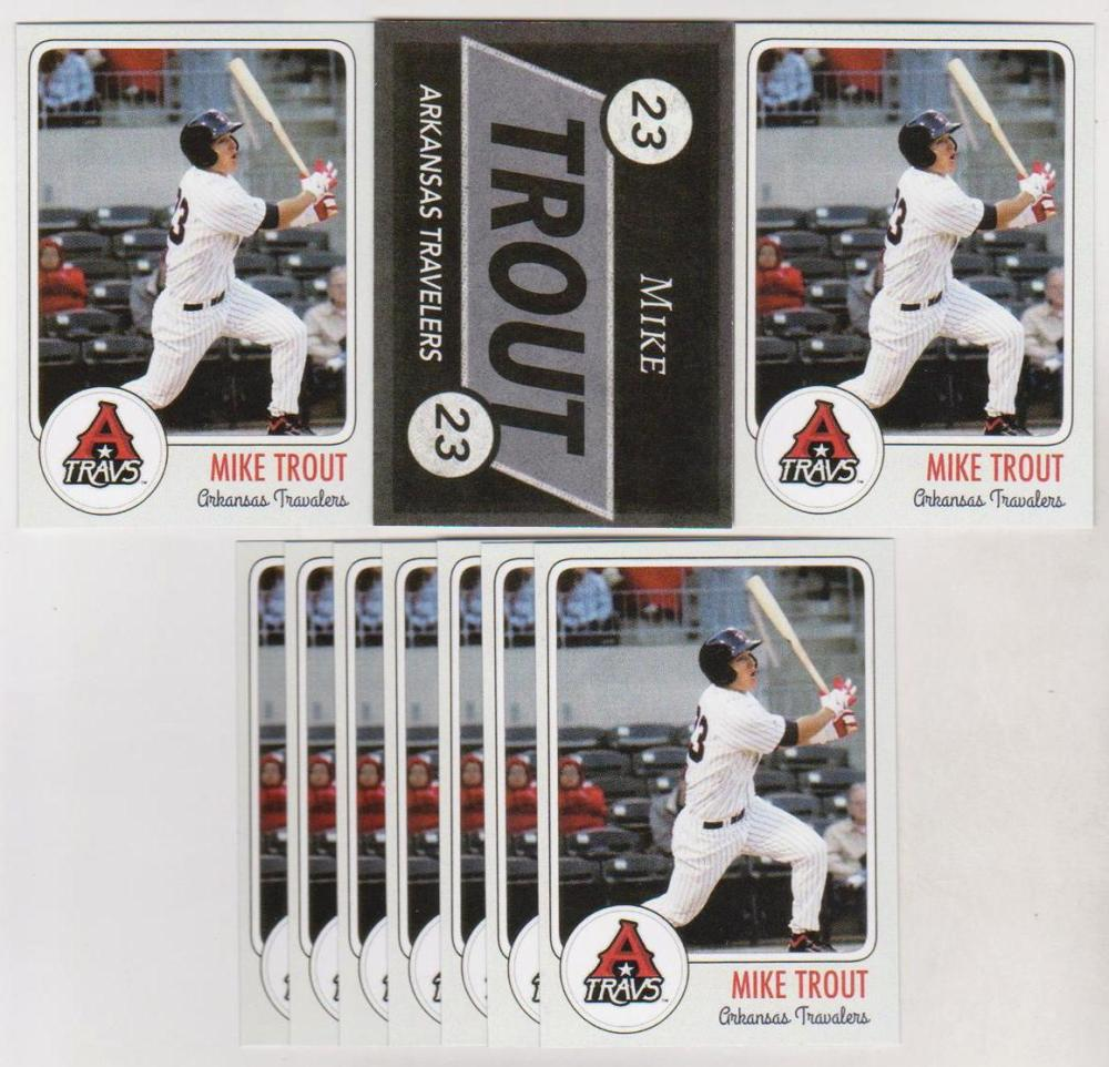 Lot of 10 Mike Trout Arkansas Travelers Custom Minor League Rookie Cards