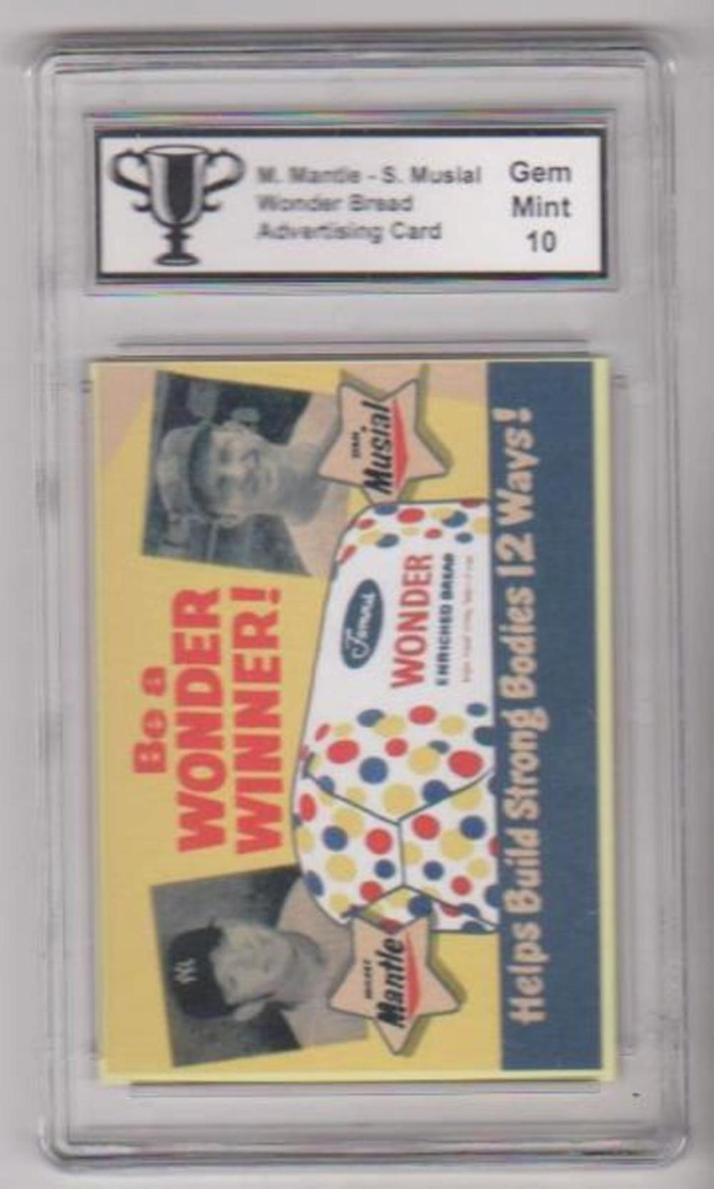 Graded Gem Mint 10 Mickey Mantle-Stan Musial Wonder Bread Advertising Card