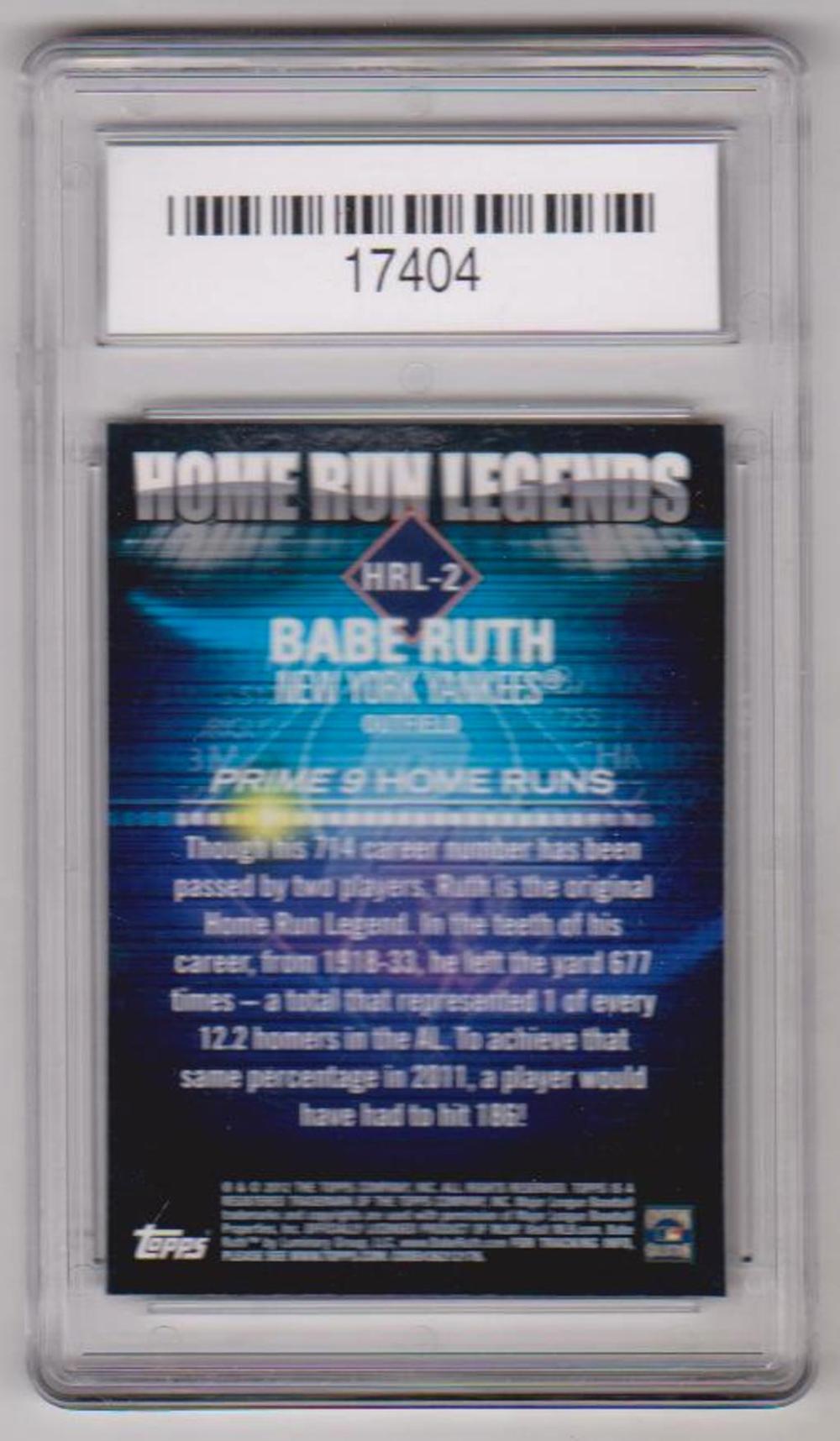 Lot 15: Graded Gem Mint 10 Babe Ruth 2012 Topps Prime 9 Home Run Legends #HRL-2 Card