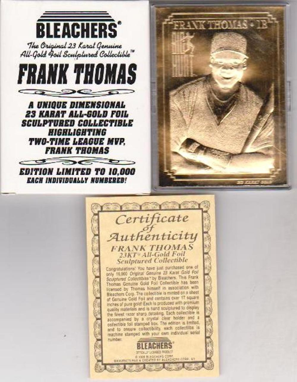 23 kt Gold - FRANK THOMAS 1995 Bleachers 23 Karat Card in Box w/COA