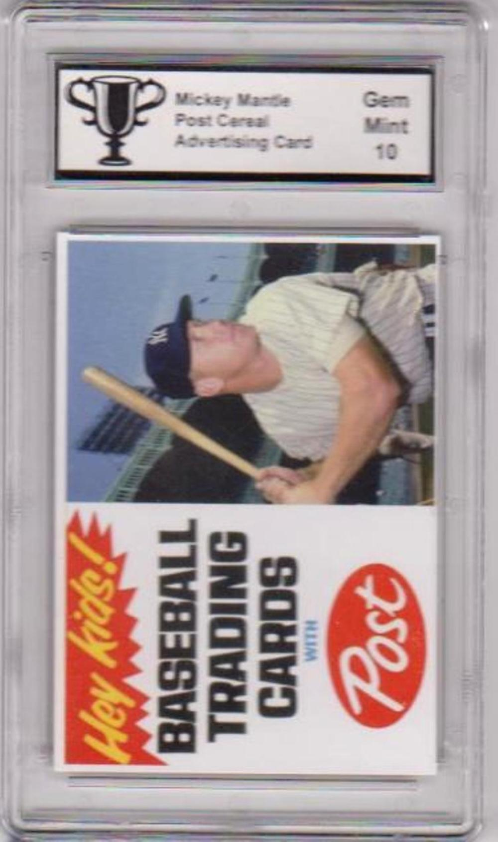 Graded Gem Mint 10 Mickey Mantle Post Cereal Advertising Promo Card
