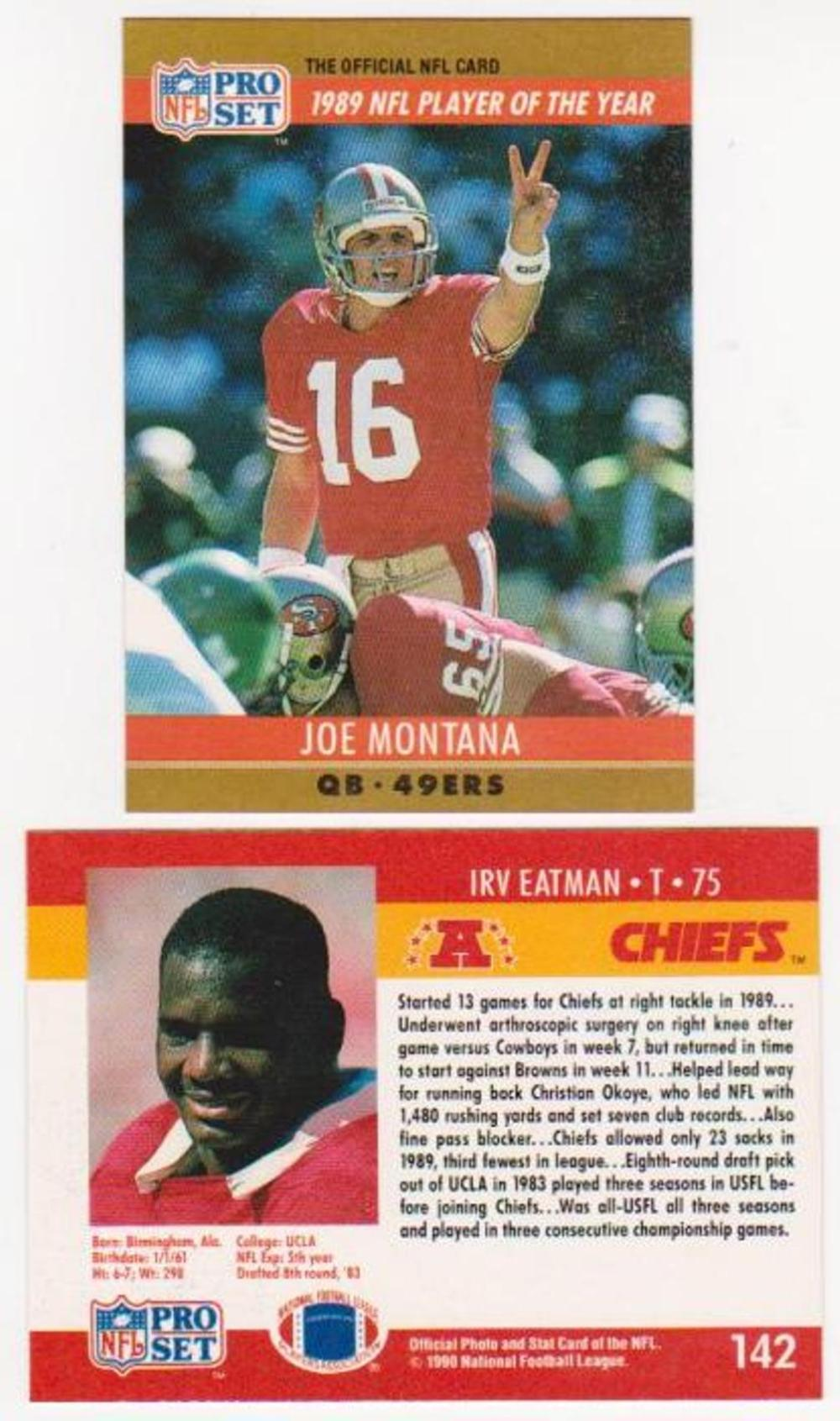 Error - JOE MONTANA 1990 Pro Set Wrong Back - Tough To Find