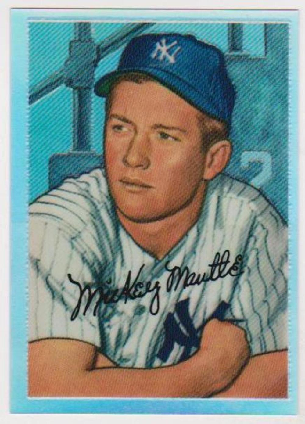 Lot 24: Refractor - MICKEY MANTLE 1952 Bowman #20 Commemorative Insert Card