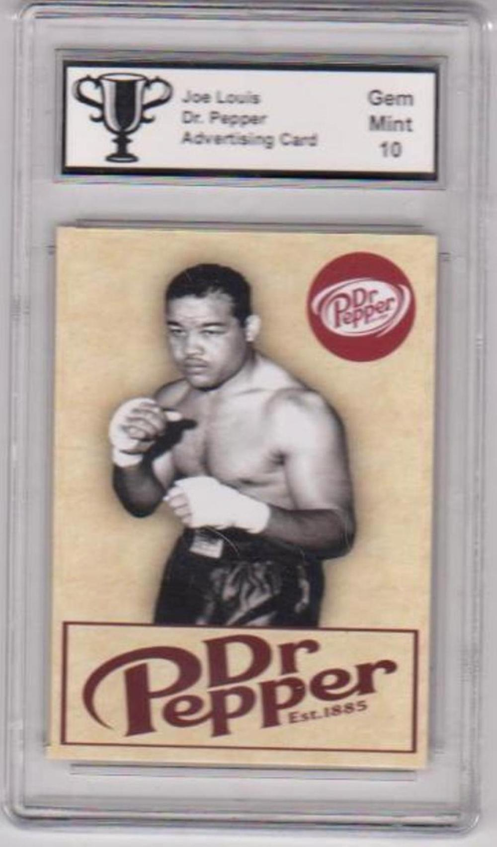 Graded Gem Mint 10 Joe Louis Dr. Pepper Advertising Promo Card