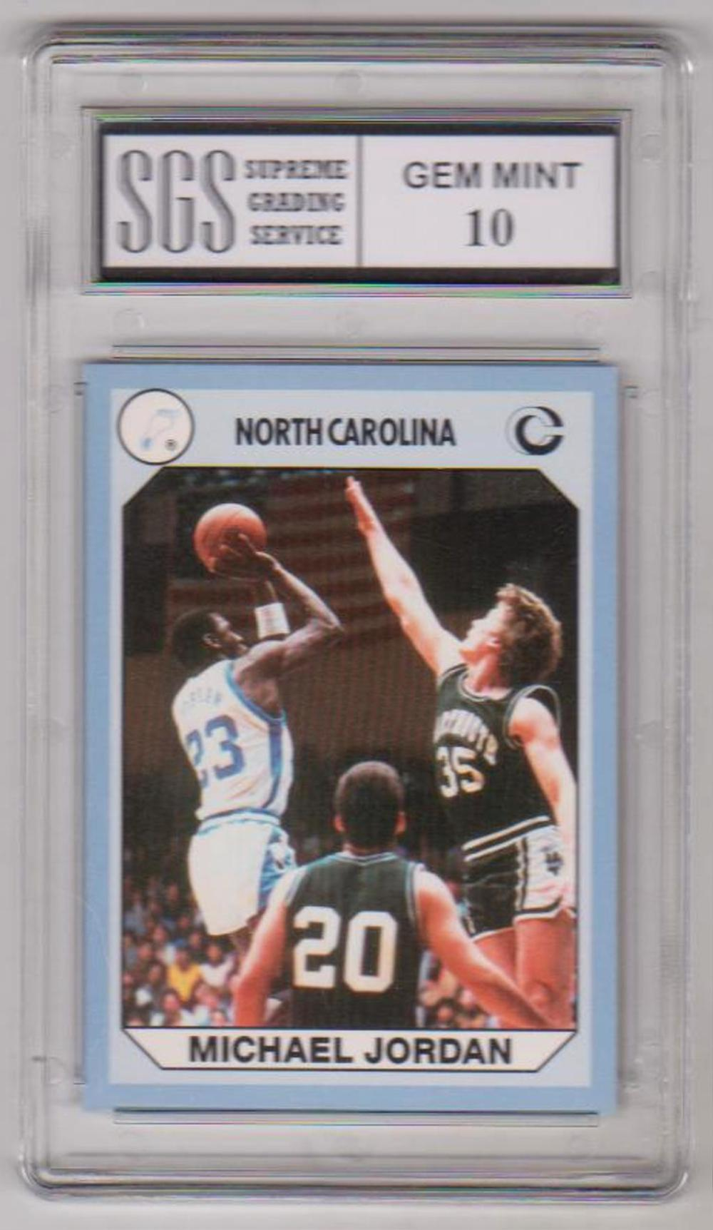 Graded Gem Mint 10 Michael Jordan 1990 North Carolina #61 Card