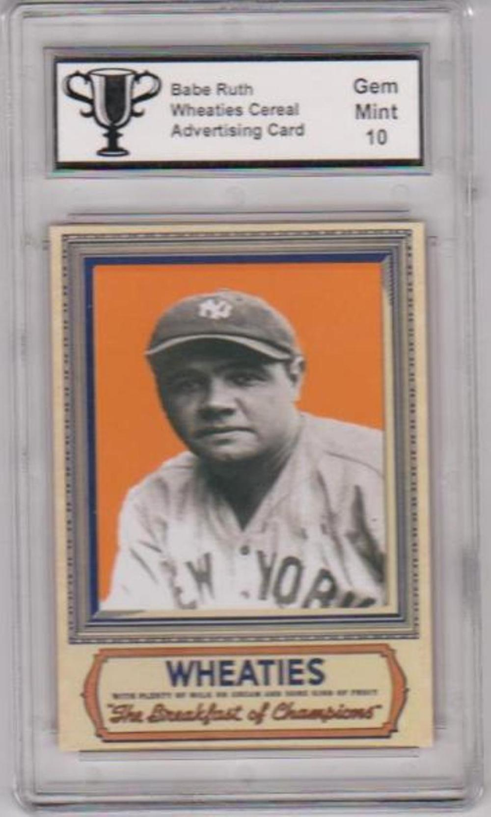 Graded Gem Mint 10 Babe Ruth Wheaties Advertising Promo Card
