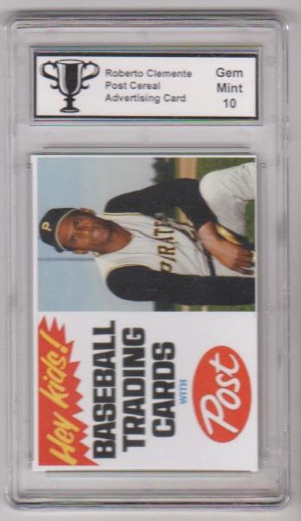 Graded Gem Mint 10 Roberto Clemente Post Cereal Advertising Promo Card