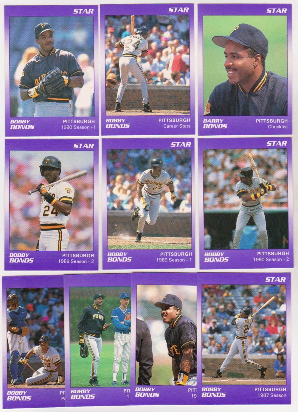 Wrong Name Error Set - BARRY BONDS - 1990 Star Purple - 11 cards per ERROR Set