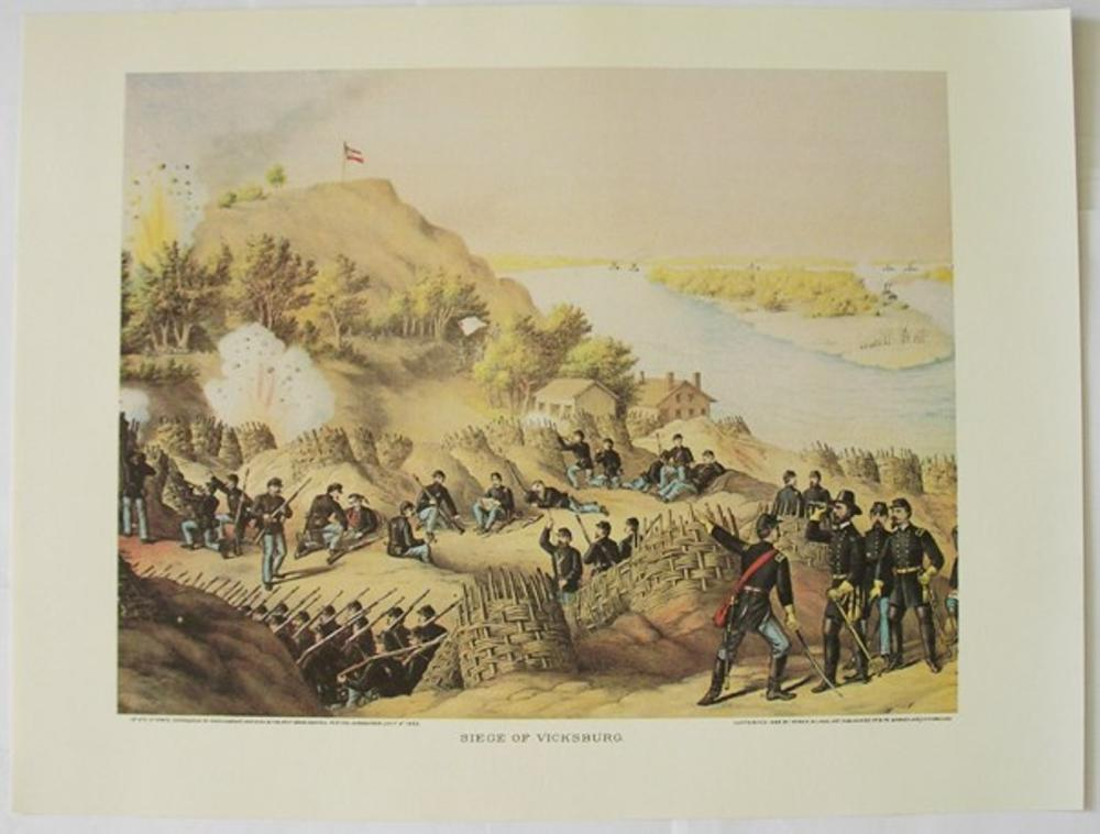 "Civil War - Siege of Vicksburg by Kurz and Allison 1863 12"" x 16"" Art Print"