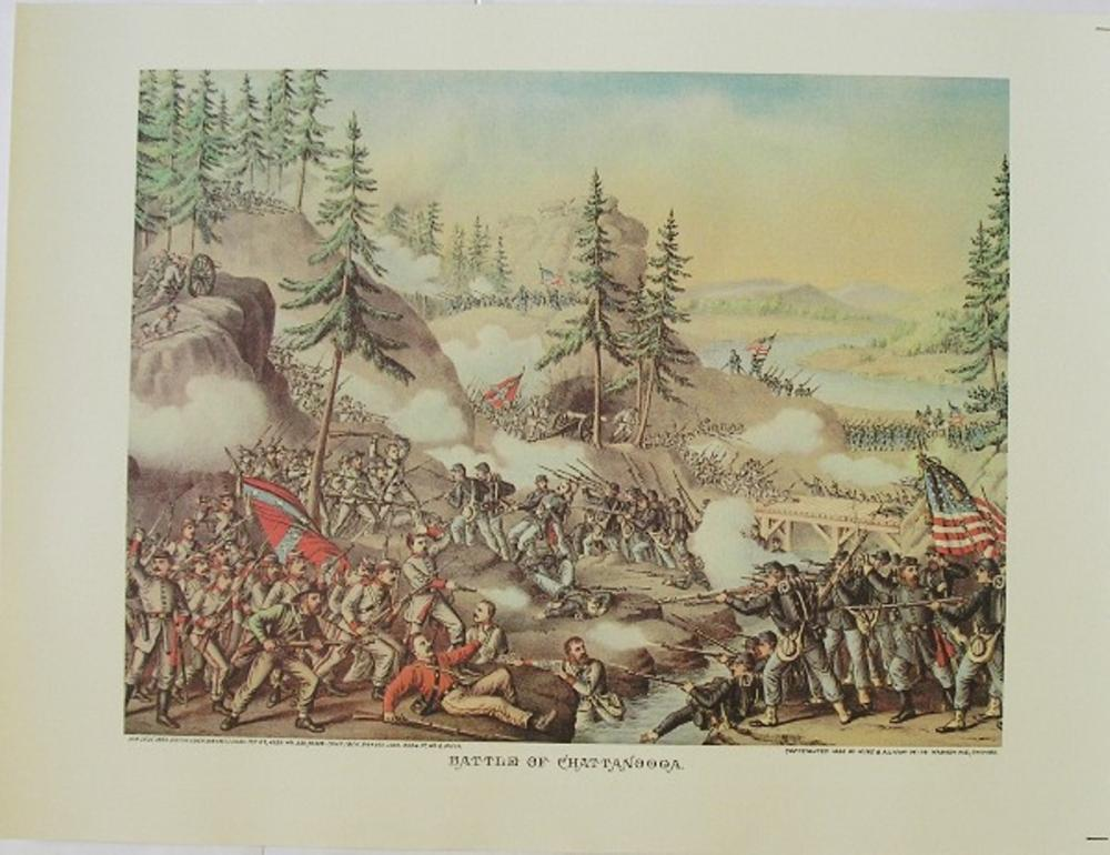 "Civil War - Battle Of Chattanooga by Kurz and Allison 1863 12"" x 16"" Art Print"