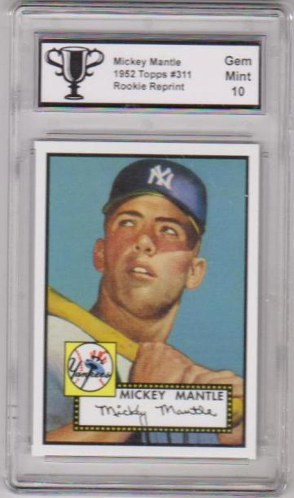 Graded Gem Mint 10 - MICKEY MANTLE 1952 Topps #311 Topps 1952 Reprint Series